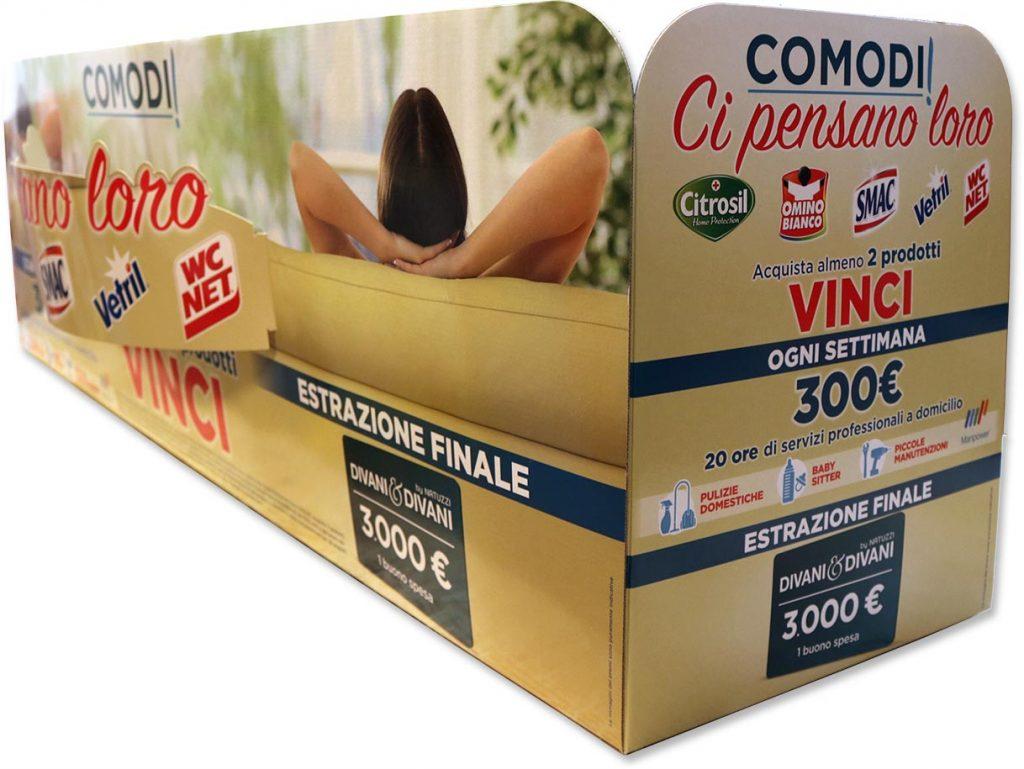 """Espositore pubblicitario """"gondola"""" da ripiano alto punto vendita, per Bolton Group"""
