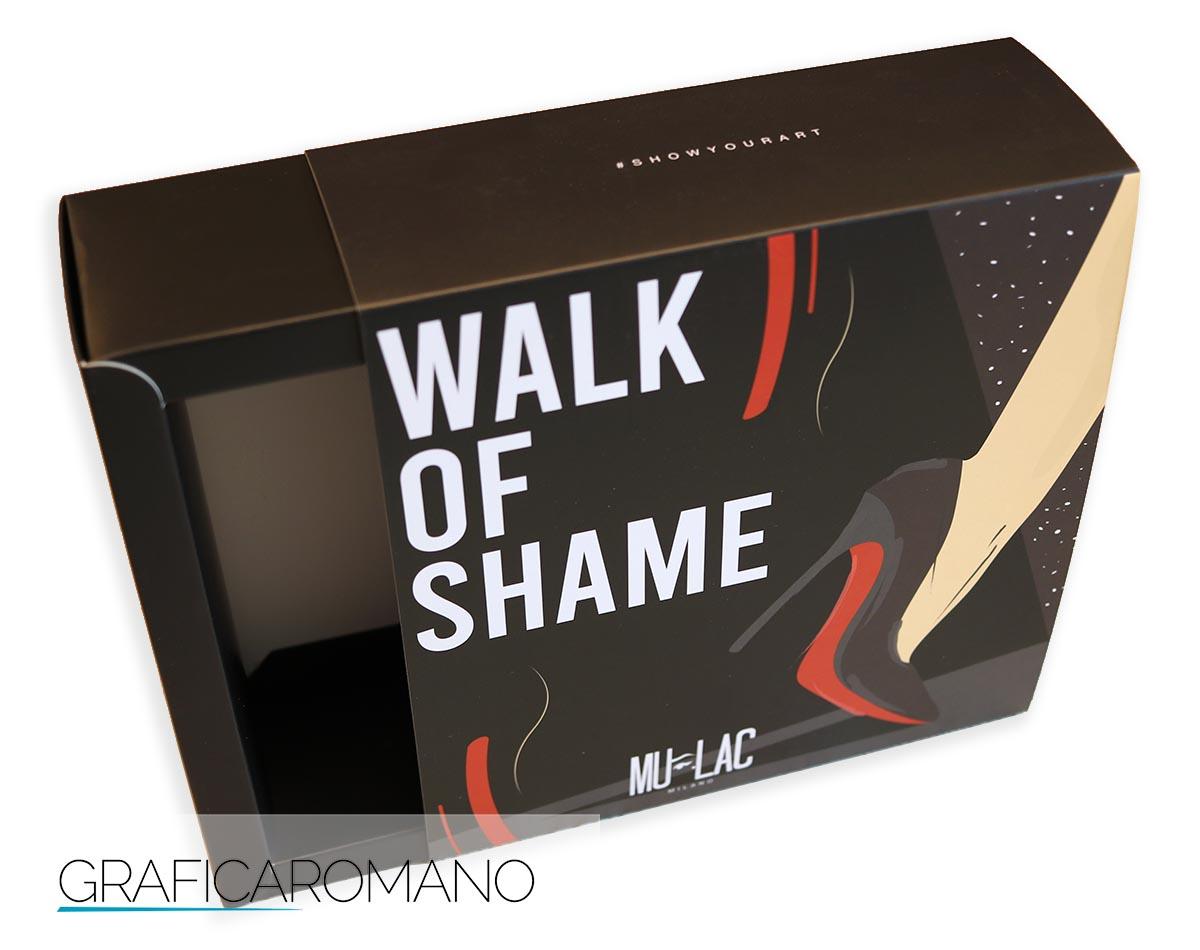 Astuccio pubblicitario con guaina, in cartone, con apertura laterale per confezionamento cosmetici